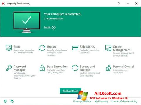 Ảnh chụp màn hình Kaspersky Total Security cho Windows 10