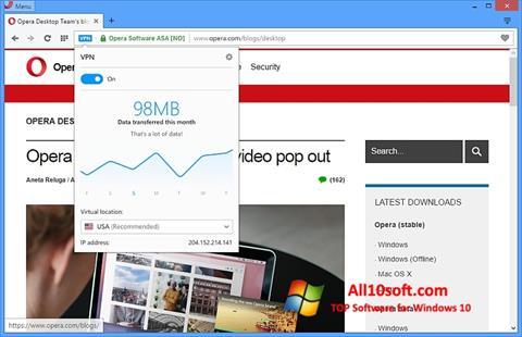 Ảnh chụp màn hình Opera cho Windows 10