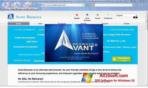 Ảnh chụp màn hình Avant Browser cho Windows 10