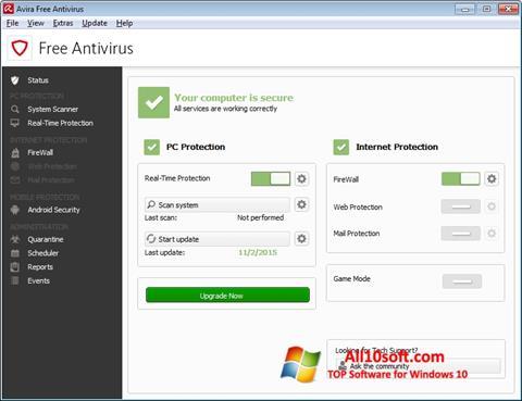 Ảnh chụp màn hình Avira Free Antivirus cho Windows 10